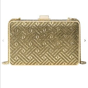 Michael Kors Gold Leather Pearl Clutch Crossbody